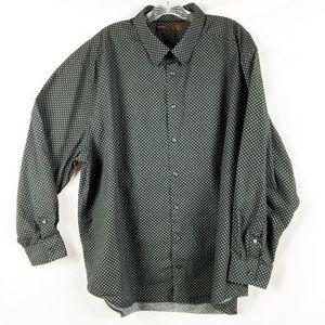 Perry Ellis Button-Down Black Print Size 3X
